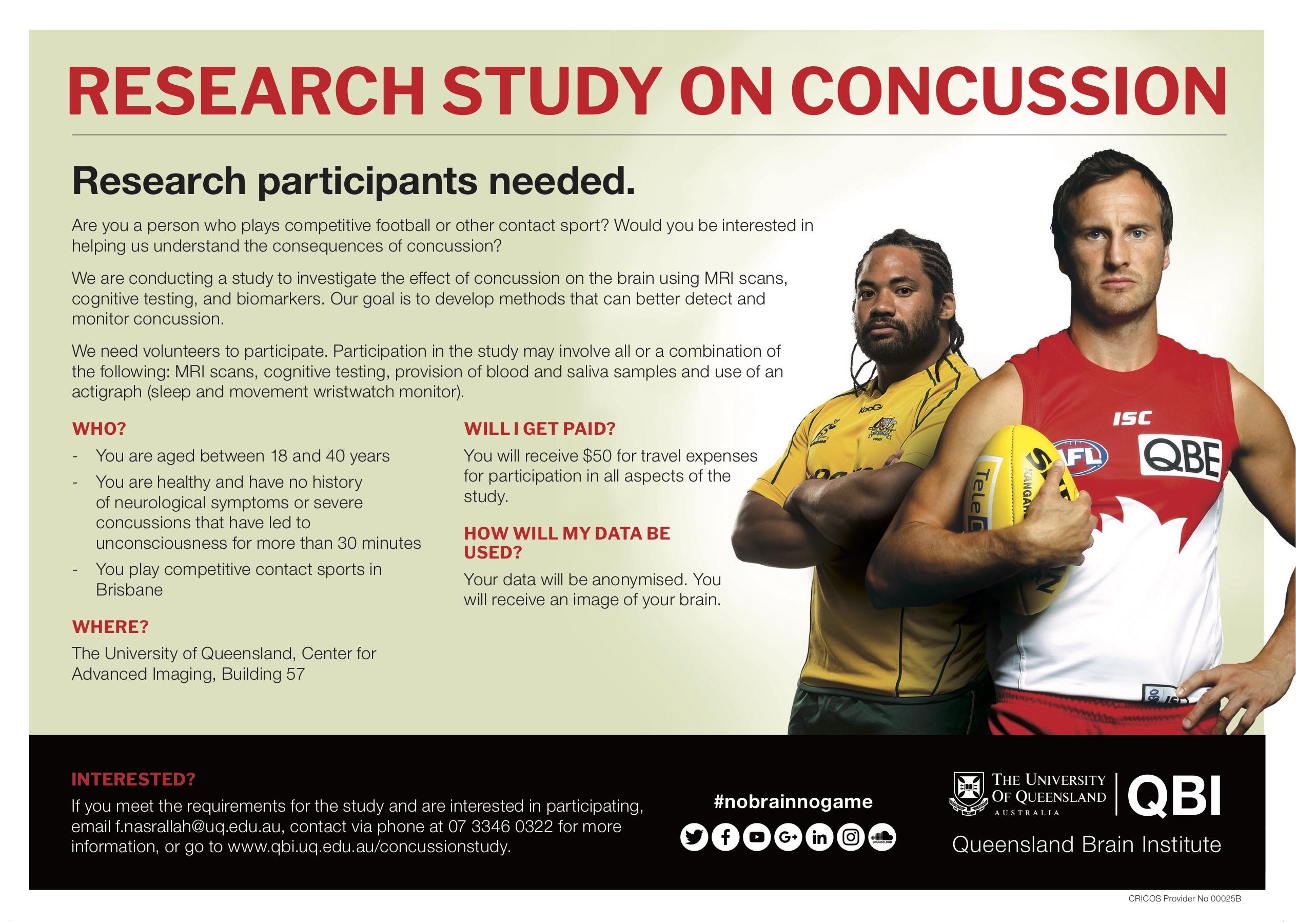 Concussion Research Study Queensland Brain Institute