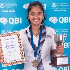 QASMT's Shambhavi Mishra fought off tough competition to win the 2016 Queensland Brain Bee.