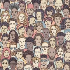banner of 100 different hand drawn faces of various ethnicities