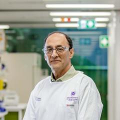 Professor Pankaj Sah in the lab